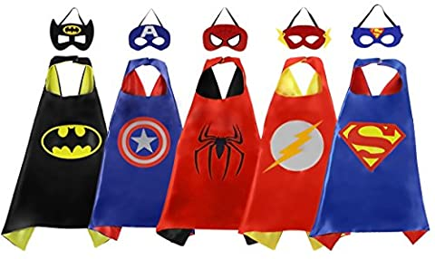 PlayShire Superhero Capes - Halloween Costume Kids: 5 Super Hero Capes And Masks (Full Face Character Hoodie)