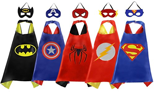 PlayShire Superhero Capes - Halloween Costume Kids: 5 Super hero capes and masks