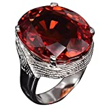 Slendima Fashion Oval Rhinestone Bridal Engagement Statement Ring Women Wedding Banquet Party Anniversary Jewelry Red US 10