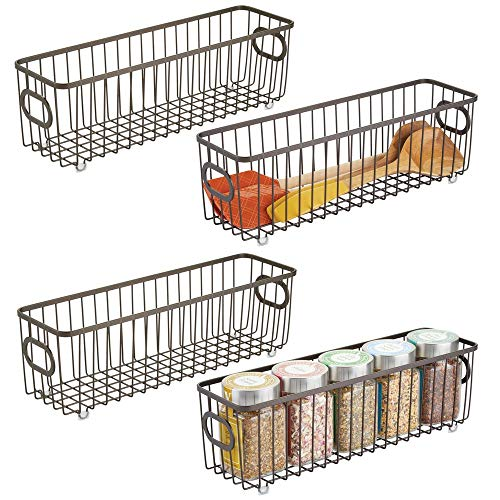 (mDesign Metal Farmhouse Kitchen Pantry Food Storage Organizer Basket Bin - Wire Grid Design - for Cabinets, Cupboards, Shelves, Countertops - Holds Potatoes, Onions, Fruit - Long, 4 Pack -)