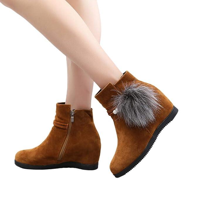 ❤ Botas para Las Mujeres Cuñas, Mujer Gamuza de Gamuza Cuñas de Punta Redonda Zapatos Pure Color Cremallera Otoño Invierno Boots Absolute: Amazon.es: ...