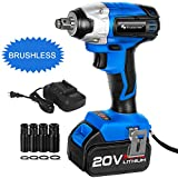 Brushless Cordless Impact Wrench 1/2-Inch, PROSTORMER 20V Max Lithium Battery Impact Wrench Kit with 3000BPM Impact Power, 4.0Ah Battery, Fast Charger and 4 Sockets Included