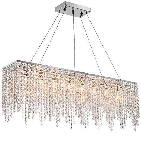 Moooni Modern Rectangular Crystal Chandelier Linear Raindrop Chandeliers Flush Mount Ceiling Light Fixture Hanging Pendant Lighting