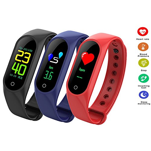 Aoile Color Screen Smart Bracelet Heart Rate Blood Pressure Monitor Fitness Tracker Wristband Gift Ornament