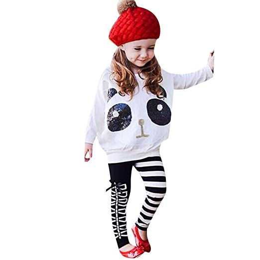 81ba819e2404 Amazon.com  💗 Orcbee 💗 Toddler Kids Girls Outfits Panda Sequins Tops  T-Shirt + Striped Bow Pants Clothes Set 0-8T  Clothing