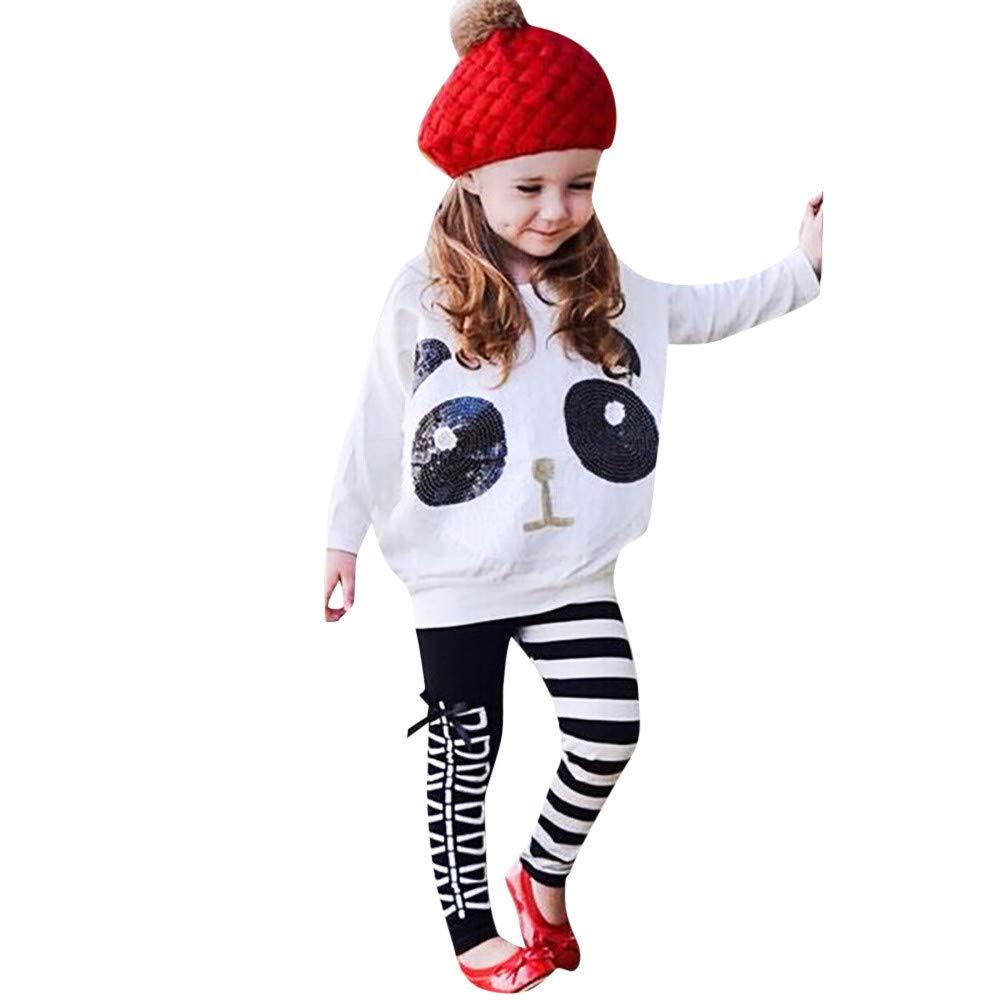 Elecenty 2pcs Top paillettes da bambina T-shirt + pantaloni a righe con fiocco Set di vestiti