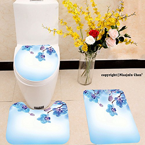 Natural Reflections Toilet Seat - Niasjnfu Chen three-piece toilet seat pad customFlower Orchids Asian Natural Flowers Reflections on Water for Spring Calming Art Blue and Purple
