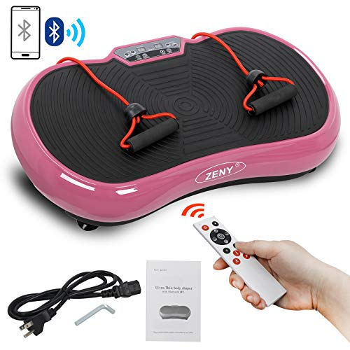 ZENY Vibration Plateform Machines Whole Body Vibrating Plate Machine Workout Fitness Shaking Machine w/Bluetooth Home Training Exercise Equipment (Pink)
