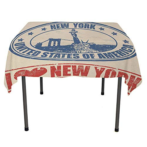 - Retro Poster tablecloths Party Decorations Vintage I Love New York with Statue of Liberty Grunge Rubber Stamps Design Blue Orange Tablecloth Waterproof Camping Spring/Summer/Party/Picnic 36 by 36