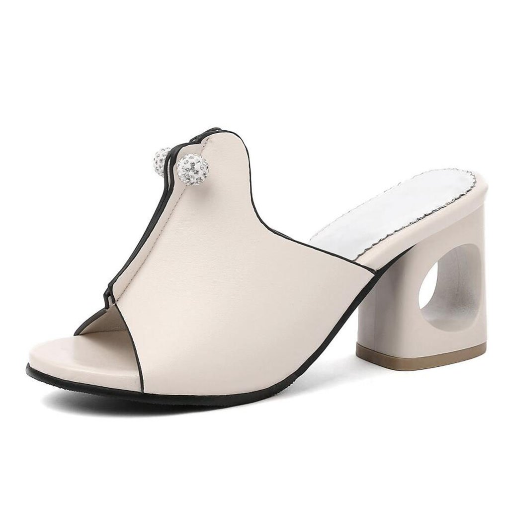 Beige LZWSMGS Women's PU Open Toe shoes Sandals Summer Fashion High Heels Thick Rhinestone Slippers Black Silver Beige Size 34-43 Ladies Sandals (color   Silver, Size   37)