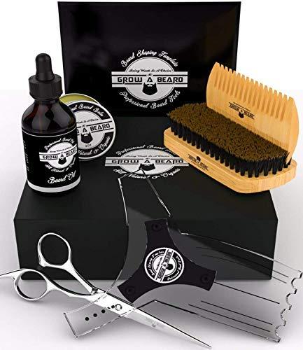 Beard Brush Grooming Kit for Men w/Growth Oil, Sandalwood Balm, Wooden Comb, Mustache Trimming Scissors, Boar Bristle Brush, & Beard E-Book, Great Care Gifts for Men