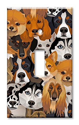 Art Plates Brand Single Toggle Switch / Wall Plate - Just Dogs