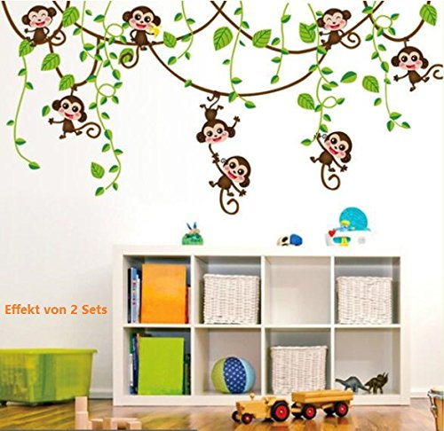 COVPAW Wall Stickers Decor Monkey Swing Tree Kids Nursery Baby Children's Room Decal
