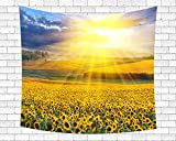Wamika Sunflower Tapestry Wall Hanging Flower Hippie Wall Tapestry Sunshine Landscape Flower Decor Wall Art Colorful Tapestry Living Room Home Dorm Bedroom Decor 51 × 60 inches Yellow