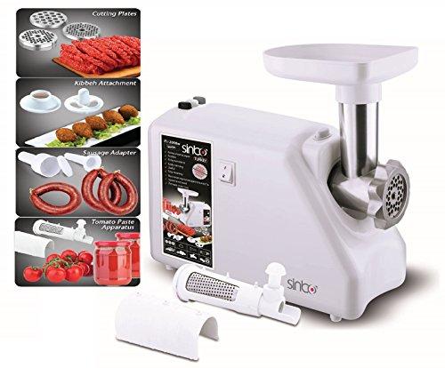 2.000 Watt Fleischwolf mit Metall-Getriebe elektrisch Wurstmaschine Wurstfüller inkl. Kibbe Aufsatz + extra Aufsatz für Tomatensoße für Spritzgebäck geeignet