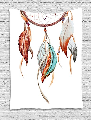 Ambesonne Feather Tapestry, Watercolor Dream Catcher Native American Inspirations Traditional, Wall Hanging for Bedroom Living Room Dorm, 40 W X 60 L Inches, Sienna Seafoam