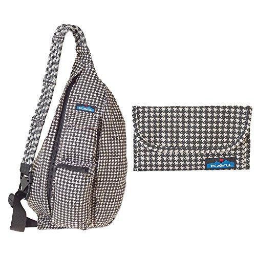 KAVU Women's 923 Rope Bag with Matching Big Spender Wallet, Houndstooth, One (Big Spender Wallet)