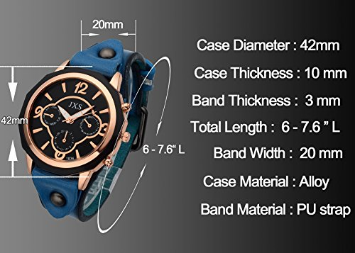 Top Plaza Womens Mens Fashion Rose Gold Tone Leather Analog Quartz Wrist Watch Arabic Numerals Big Face Casual Sport Watch - Black by Top Plaza (Image #2)