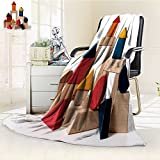 DOLLAR Blanket,Isolated shot of home building wood blocks on white background Traveling, Hiking, Camping, Full Queen, TV, Cabin, Couch, Bed Throw(60''x 50'')