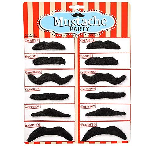 Rhode Island Novelty Black Mustache Party Pack, 12