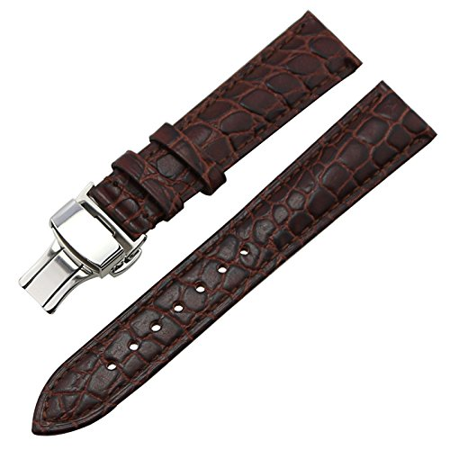 ZLIMSN Calf Leather Watch Band Strap Silver Steel Push Button Deployment Buckle Brown 20mm