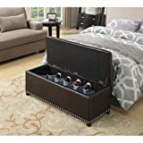 Cheap Convenience Concepts Designs4Comfort Parker Ottoman with Shoe Storage, Espresso