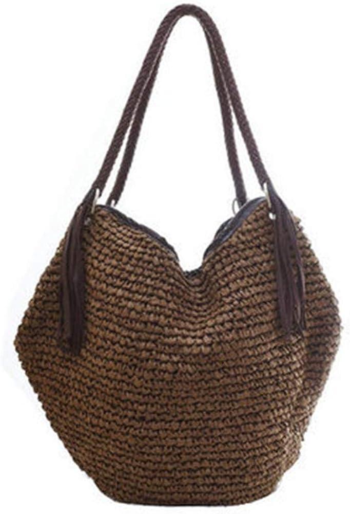 Brown Boho Leather Handle Tote Retro Summer Beach Bag Rattan Handbag QTKJ Soft Large Straw Shoulder Bag with Brown Charm Leather Tassels