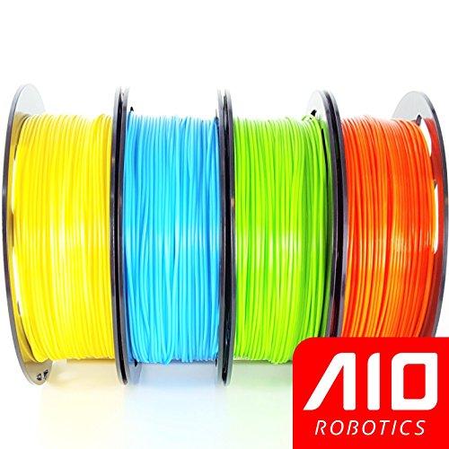 Paquete de filamento universal AIO Robotics Premium, PLA, colores Pantone verdaderamente populares (paquete múltiple de 4), amarillo, azul brillante, verde brillante, naranja
