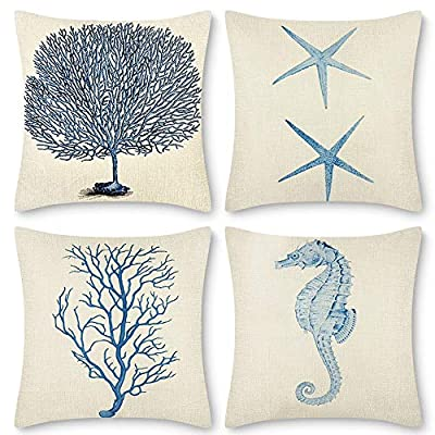 Decorsurface Ocean Themed Decorative Throw Pillow Covers 18x18 - Set of 4 Outdoor Couch Covers for Sofa Bed car, Cotton Linen Blue Pillows Cases - Pillow covers size: 18x18 inch(45x45 cm), Fabric: cotton linen, Pack of 4(pillow inserts not included), throw pillow covers are great for living room, bedroom couch, sofa, car, etc. Premium quality: The square pillow covers were double sewed at 4 sides, invisible zipper closure in 1 side offers a neat look, easy for frequent removal and fill, machine washable in cold water, please choose the gentle cycle. Awesome design: Set of 4 pillow covers with blue ocean themed patterns will increase the charm in pillow covers and add a nice touch for you. - patio, outdoor-throw-pillows, outdoor-decor - 51zmQlPA8rL. SS400  -