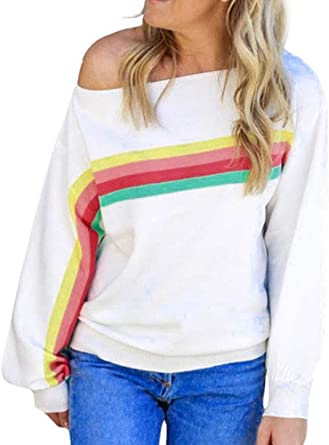 Women Plus Size Sweatshirt Tops Loose Christmas Off Shoulder Rainbow Print Long Sleeve Blouse