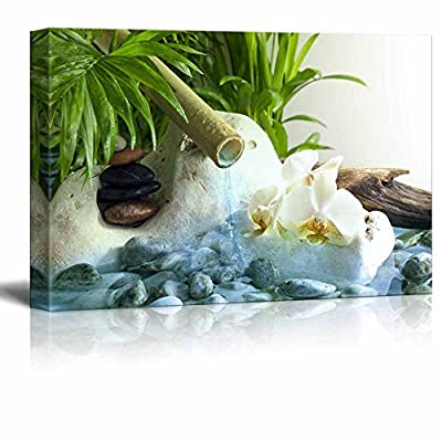 Canvas Prints Wall Art - Orchids and Zen Stones with Falling Water Spa Concept | Modern Wall Decor/Home Decoration Stretched Gallery Canvas Wrap Giclee Print. Ready to Hang - 32
