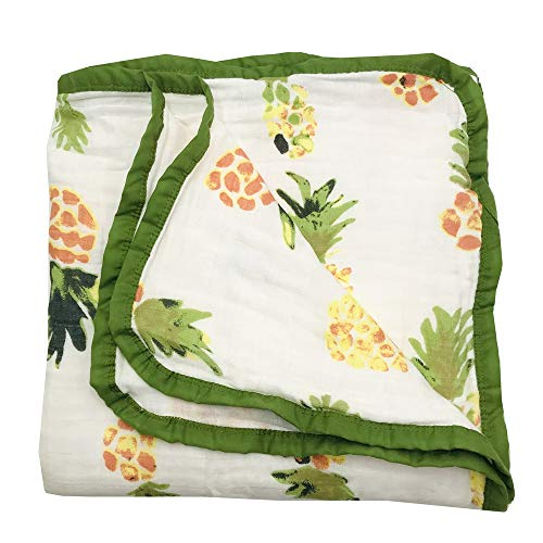 (HGHG Bamboo Cotton Muslin Stroller Blanket - 4 Layers Toddler Blanket Super Soft from (Pineapple, Large) )