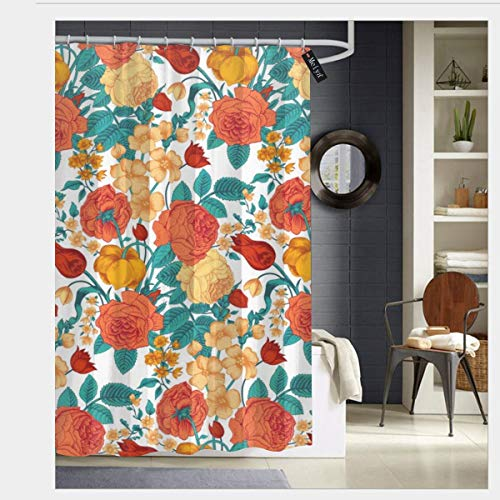 Puloa Vintage Flower Garden Shower Curtains with 12 Hooks Bathroom Curtain 72