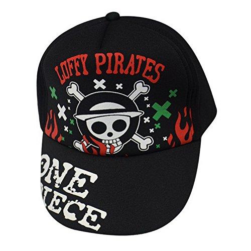 PYC055 One Piece Anime Luffy Jolly Roger Logo Black Cotton Peak Cap