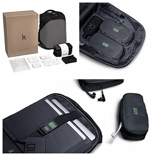 Korin Design ClickPack Pro - Anti-theft BackPack Laptop Bag with USB charging port large capacity waterproof TSA travel friendly Black and Grey by Korin Design (Image #2)