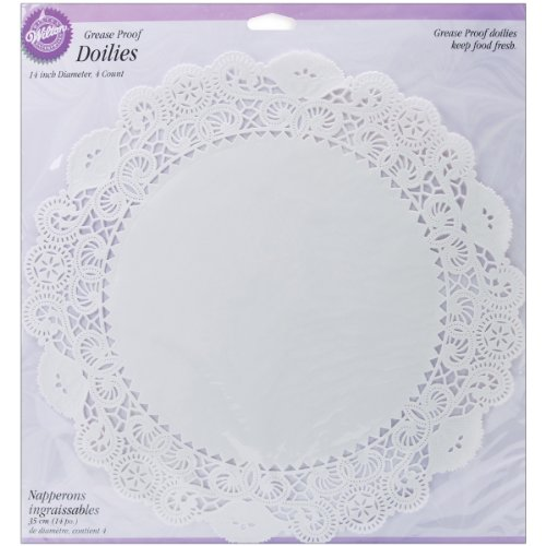 (Wilton 369572 Greaseproof Doilies, 14-Inch, White Circle, 4-Pack)