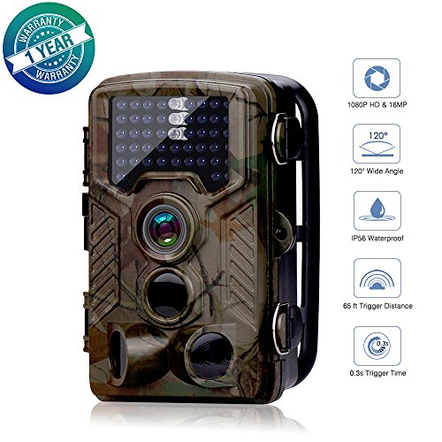 Impress Life Hunting Trail HD Camera 65Ft Wildlife Sound Scouting Cam 0.3S Trigger Speed 120Angles IP56 Waterproof 940nm IR LEDs Infrared Night Vision 1080P 16MP 2.2 LCD Display (800A)
