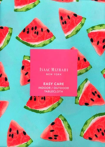 Isaac Mizrahi Indoor/Outdoor Picnic Summer Fabric Tablecloth Watermelon Slices Pink & Green on Blue | 60