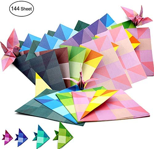 Papel Para Origami, 144 Hojas Cuadradas De 15cm, 8 Colores
