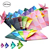 6 inch x 6 inch Double Sided Checkered Square Origami Paper,8 Colors,144 Sheets