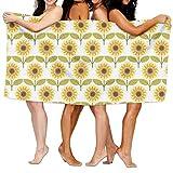 Haixia Plush Bath Towels Beach/Bath/Pool Towel 51.2'' X 31.5'' Sunflower Decor Sunflowers Pattern Autumn Country Style Decorating Retro Illustration Print Yellow White Green