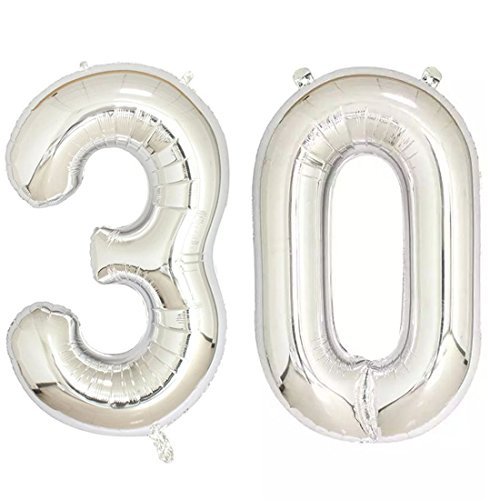 40inch Silver Foil 30 Helium Jumbo Digital Number Balloons, 30th Birthday Decoration for Women or Men, 30 Year Old Birthday Party Supplies