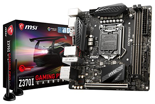MSI Z370I GAMING PRO CARBON AC Desktop Motherboard - Intel Chipset - Socket H4 LGA-1151 - Mini ITX - 1 x Processor Support - 32 GB DDR4 SDRAM Maximum RAM - 3 GHz O.C., 2.80 GHz O.C., 3.60 GHz O.C., 3. (Sets 4 Chip Pentium)