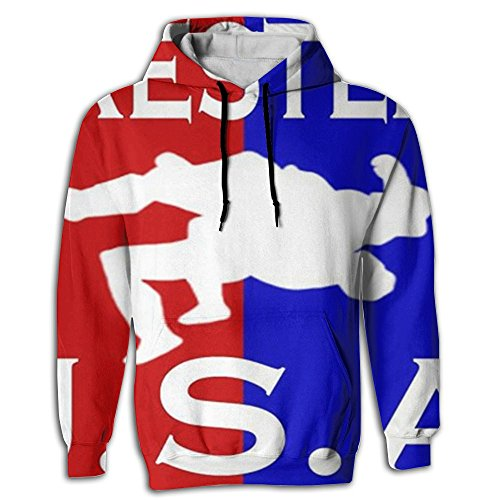 Paskcc Men's Hoodie Thin Tunic Kangaroo Pocket US Wrestling Sign Young and Reckless by Paskcc