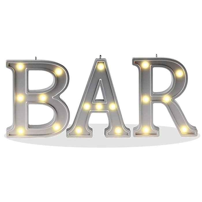 """DELICORE Decorative Illuminated BAR Marquee Word Sign (Silver Color 4.21"""" Tall) - Lighted Letter Words and Signs for Indoor BAR Decor - BAR"""