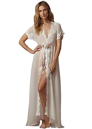 Banfvting Women s Satin robe Lace Bridal Robes With Sash Belt Short Sleeves  at Amazon Women s Clothing store  247e4e02f