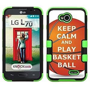 One Tough Shield ? Hybrid 3-Layer Phone Case (Black/Green) for LG Optimus L70, also fit Verizon LG Optimus Exceed 2 - (Keep Calm / Basketball)