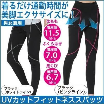 UVカット フィットネススパッツ ブラック ピンクライン 3L~4L ブラック