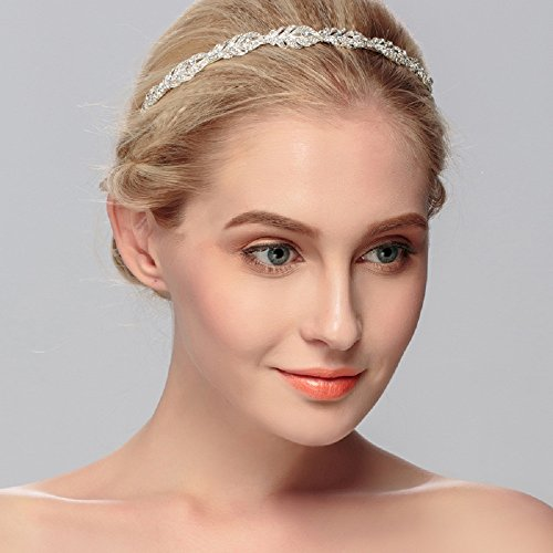 Ammei Flower Design Rhinestone Crystal Wedding Headband Bridal Headpieces Simple Design Bridal Headband (Silver)