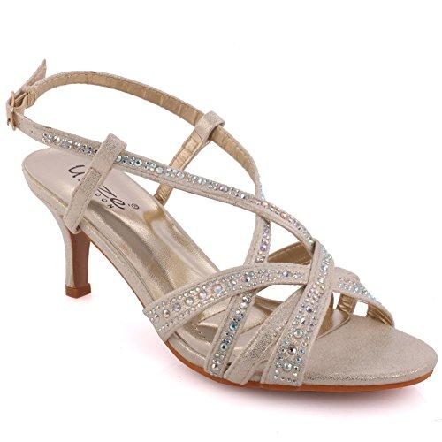 Unze London Women 'Chyna' Diamante Embellished Peep-Toe M...